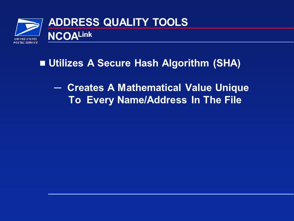 ADDRESS QUALITY TOOLS NCOALink Utilizes A Secure Hash Algorithm (SHA)