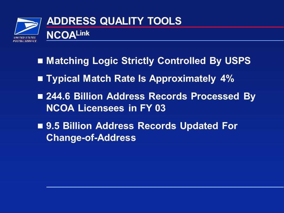 ADDRESS QUALITY TOOLS NCOALink