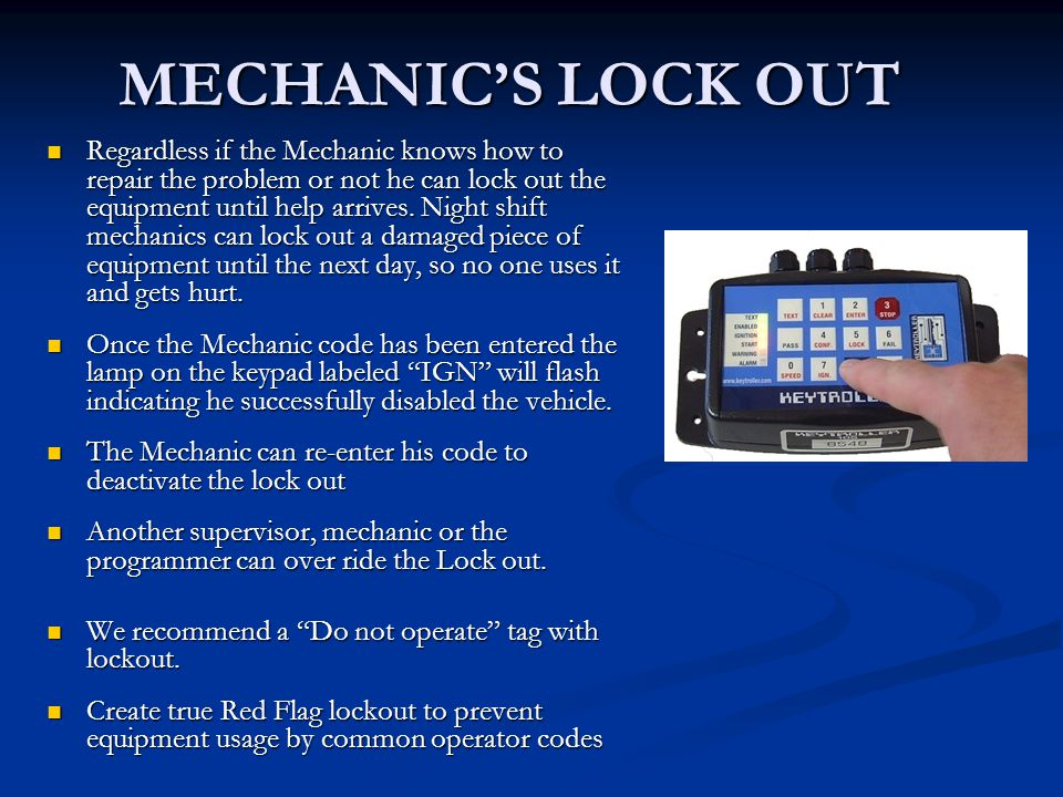 MECHANIC'S LOCK OUT