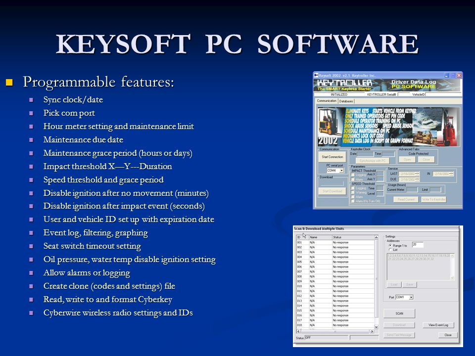 KEYSOFT PC SOFTWARE Programmable features: Sync clock/date