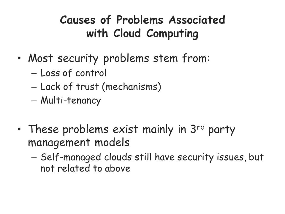 Causes of Problems Associated with Cloud Computing