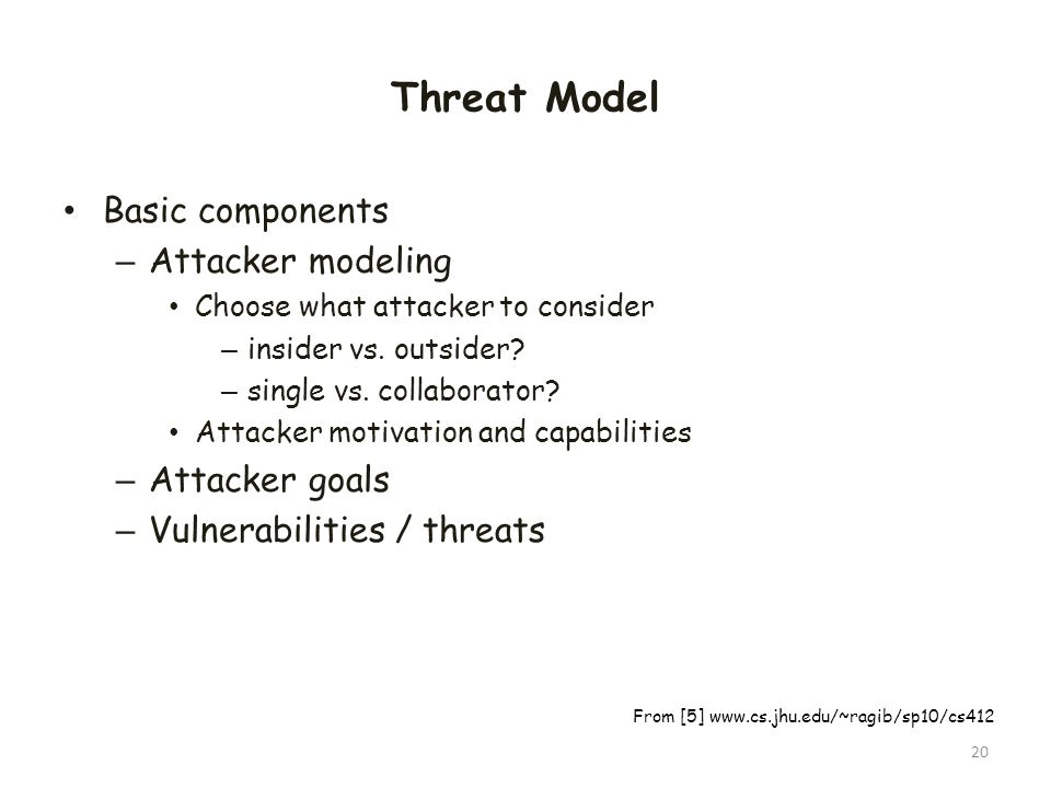 Threat Model Basic components Attacker modeling Attacker goals