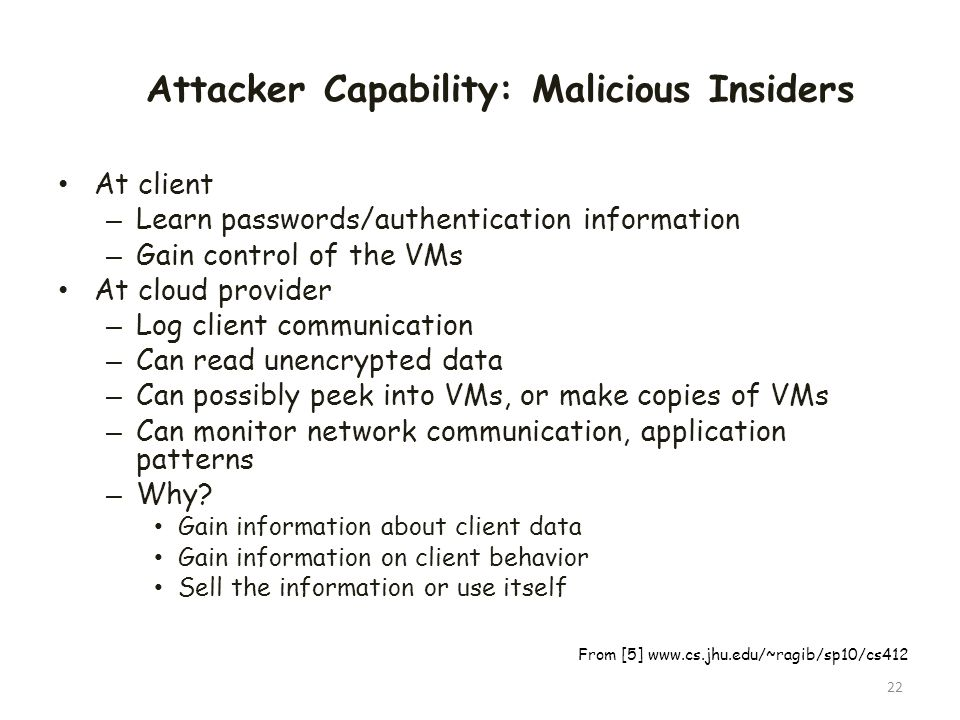 Attacker Capability: Malicious Insiders
