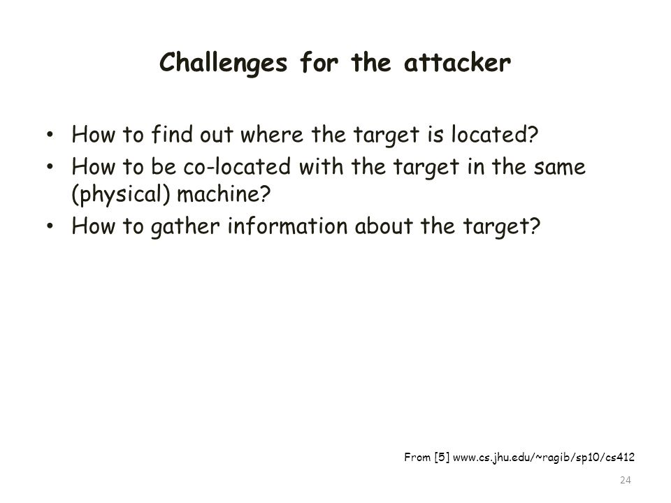 Challenges for the attacker