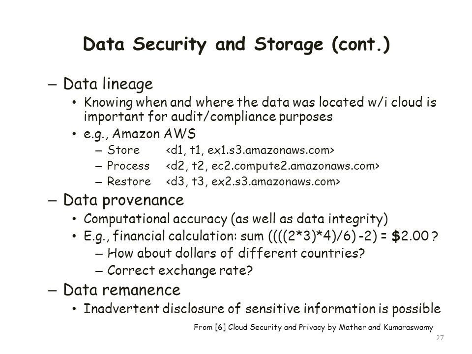 Data Security and Storage (cont.)
