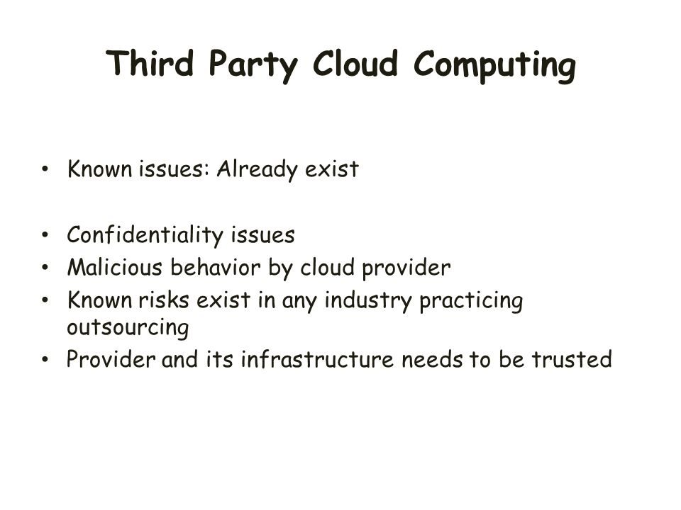 Third Party Cloud Computing