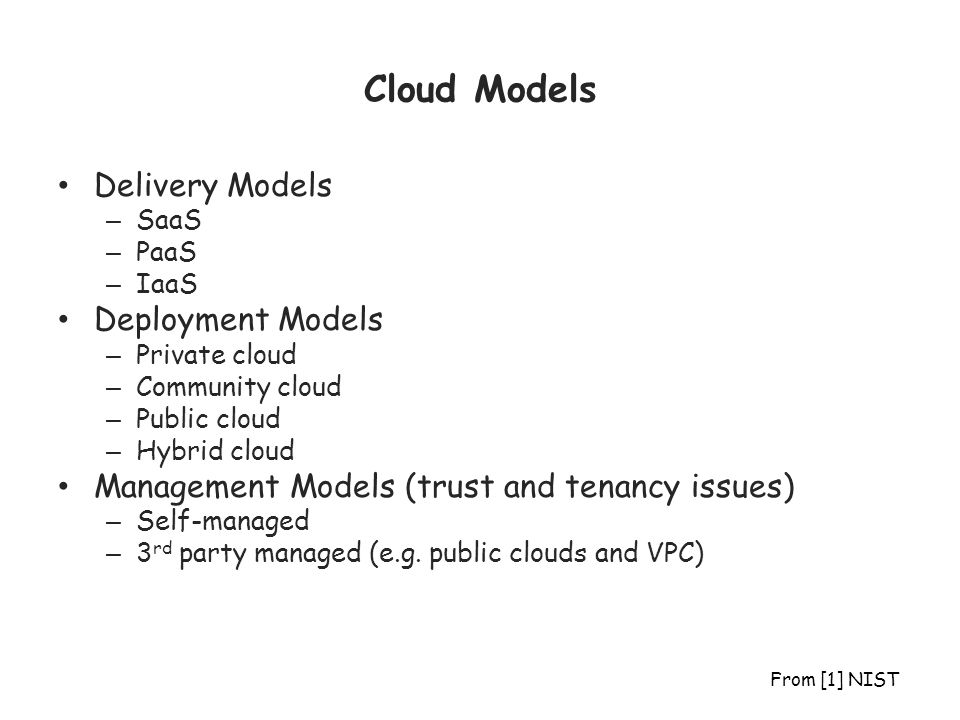 Cloud Models Delivery Models Deployment Models