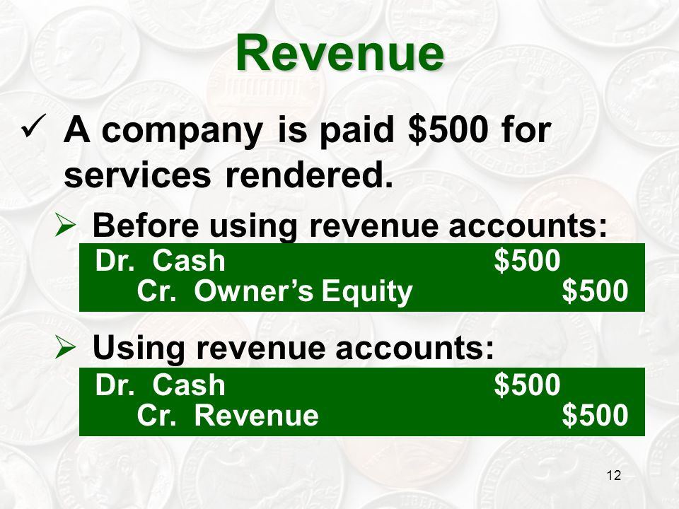 Revenue A company is paid $500 for services rendered.