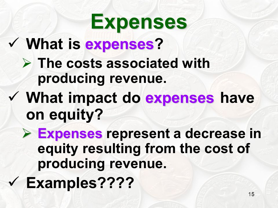 Expenses What is expenses What impact do expenses have on equity