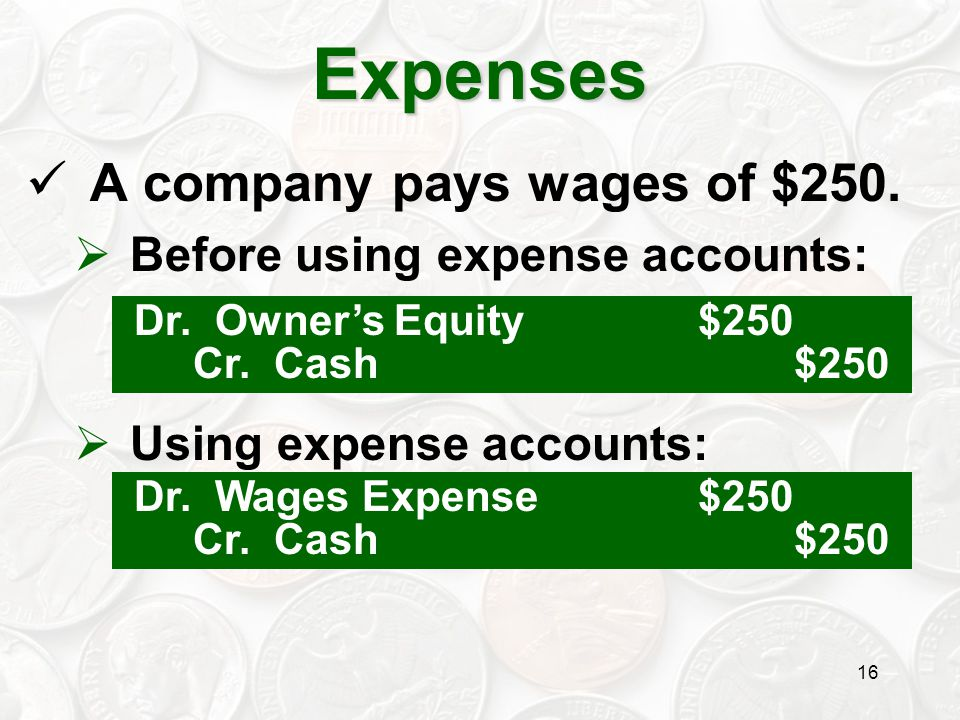 Expenses A company pays wages of $250. Before using expense accounts: