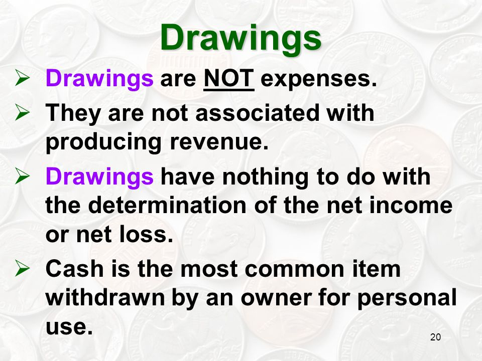 Drawings Drawings are NOT expenses.
