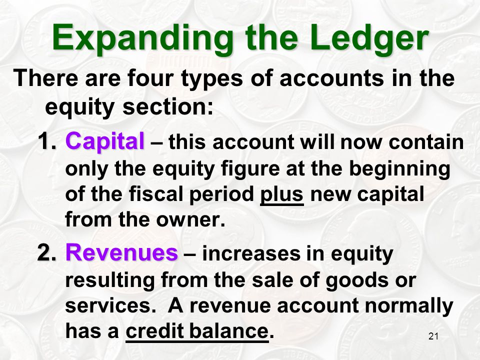 Expanding the Ledger There are four types of accounts in the equity section:
