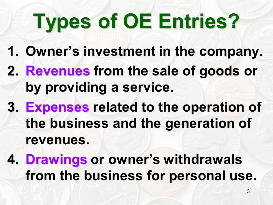 Types of OE Entries Owner's investment in the company.
