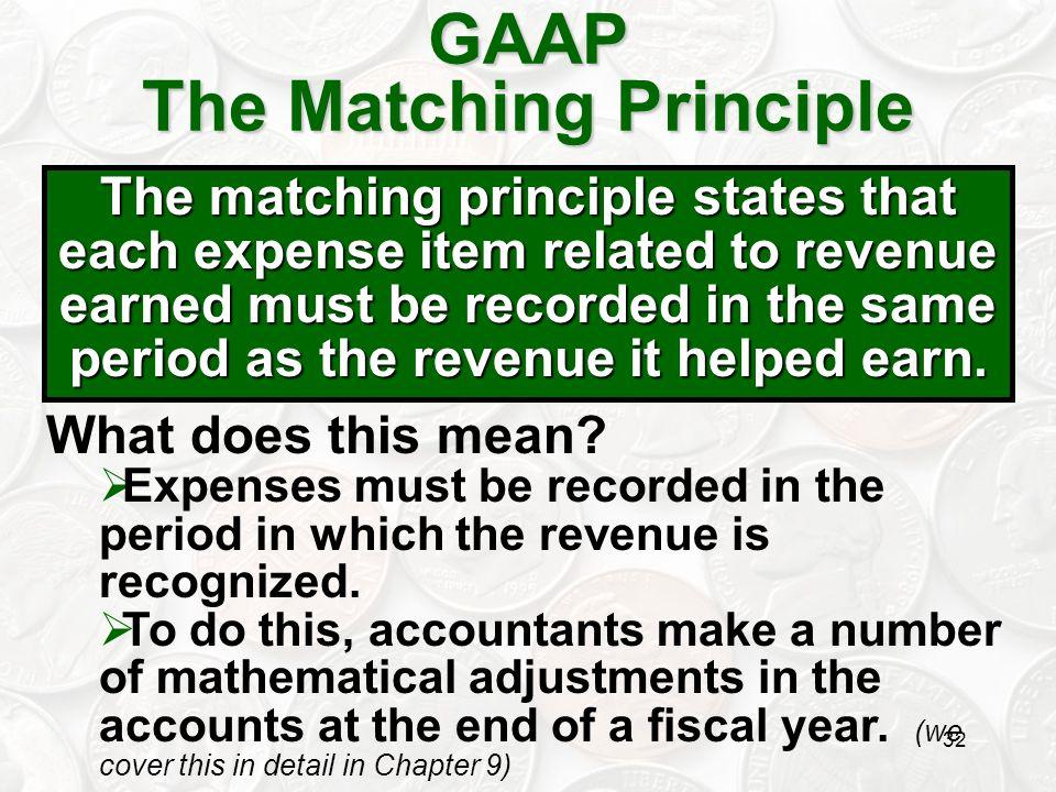 GAAP The Matching Principle