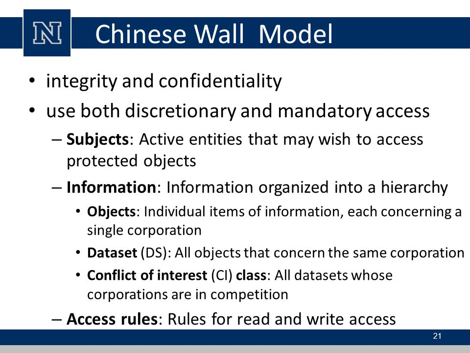 Chinese Wall Model integrity and confidentiality