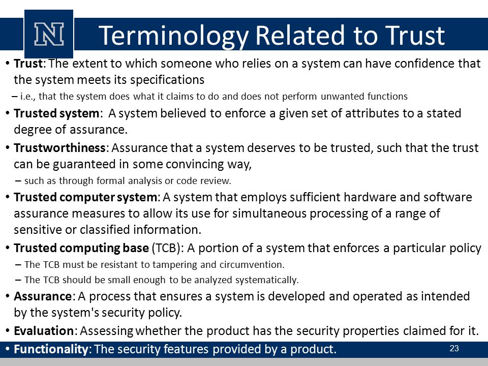 Terminology Related to Trust