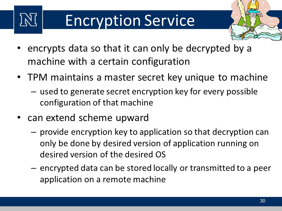 Encryption Service encrypts data so that it can only be decrypted by a machine with a certain configuration.