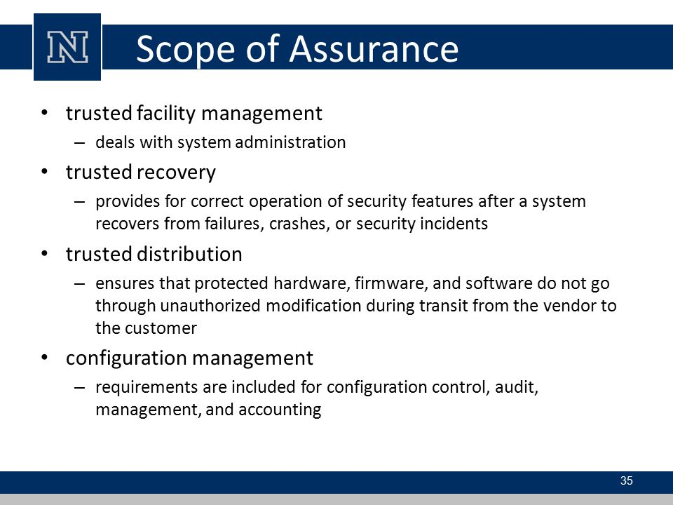 Scope of Assurance trusted facility management trusted recovery