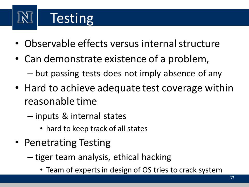 Testing Observable effects versus internal structure