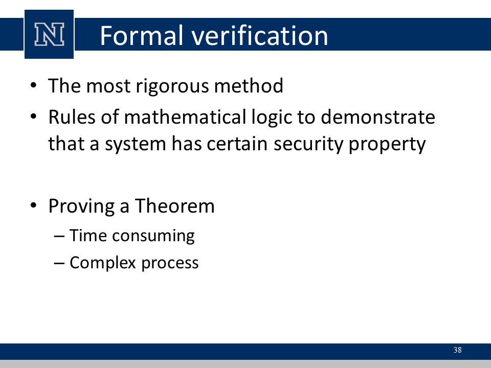 Formal verification The most rigorous method