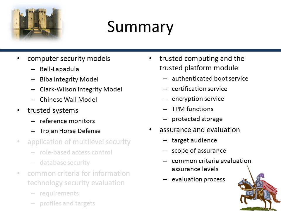 Summary computer security models trusted systems