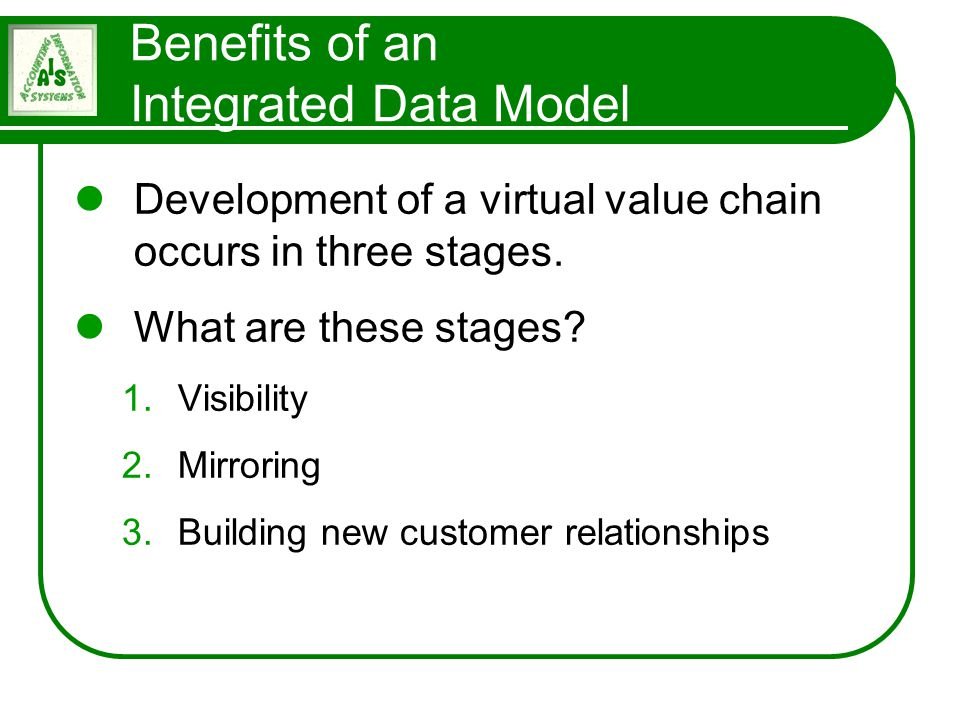 Benefits of an Integrated Data Model
