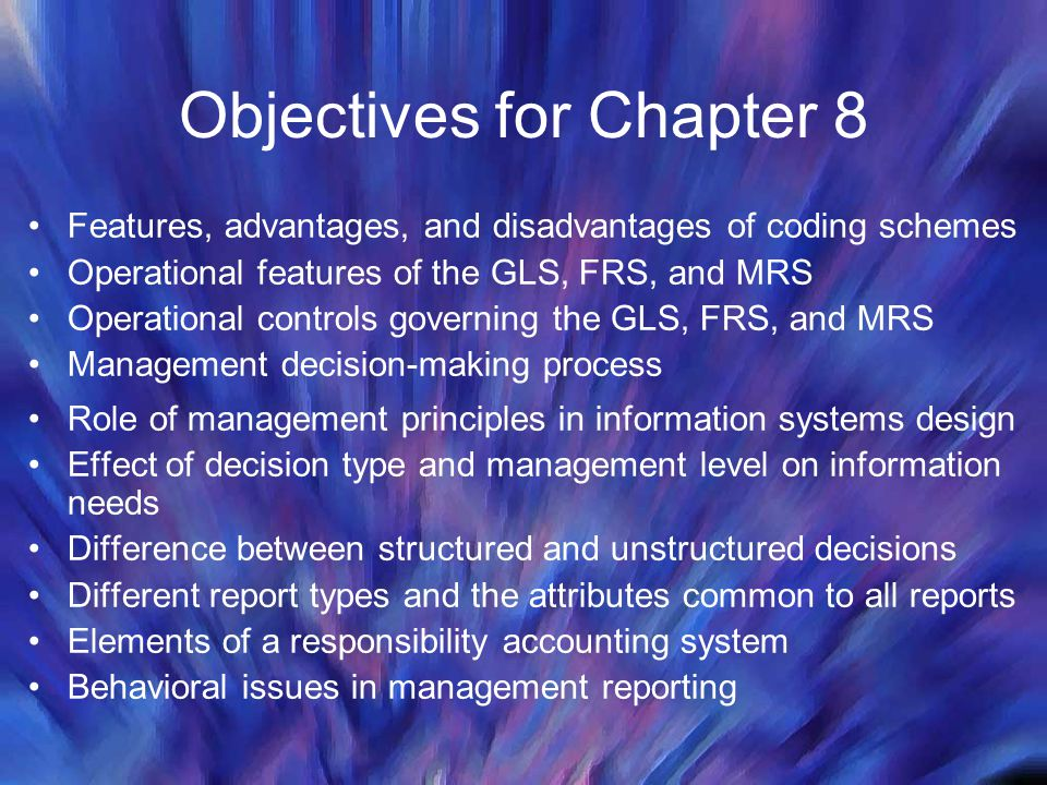 Objectives for Chapter 8