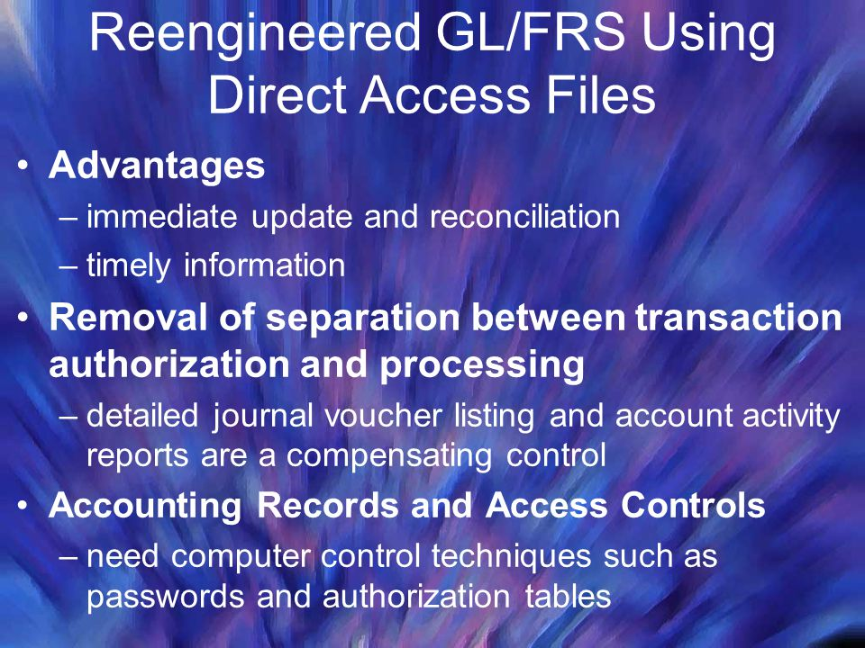 Reengineered GL/FRS Using Direct Access Files