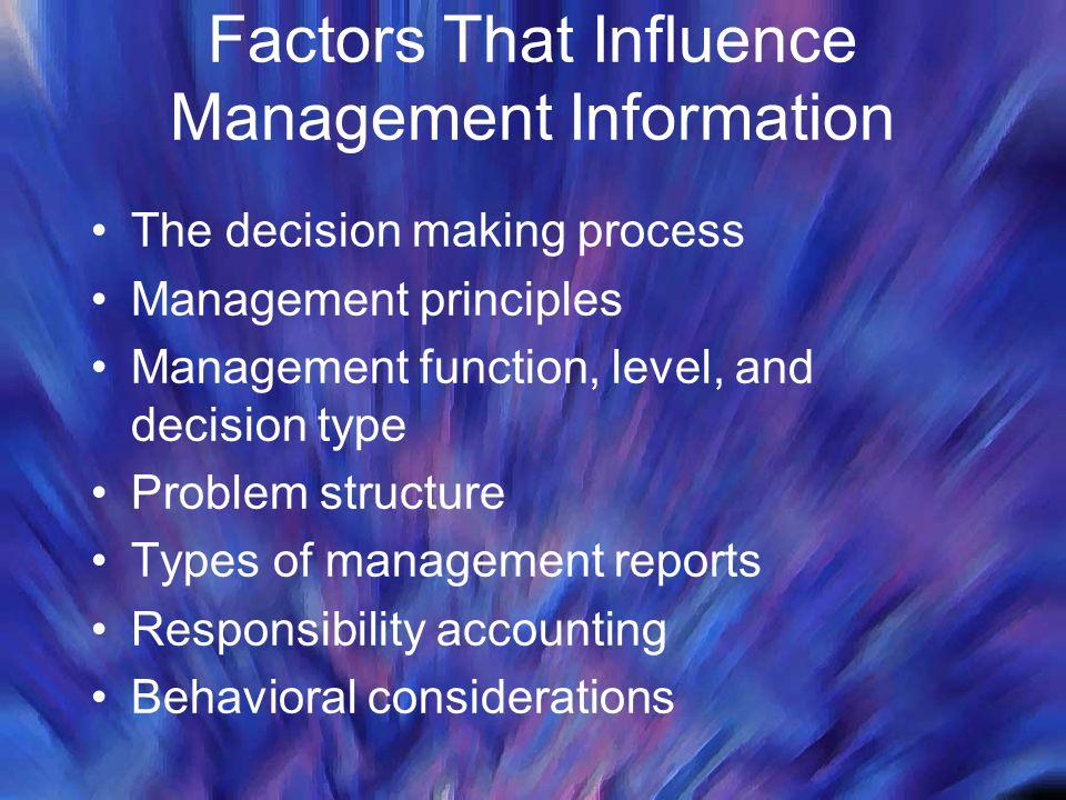 Factors That Influence Management Information