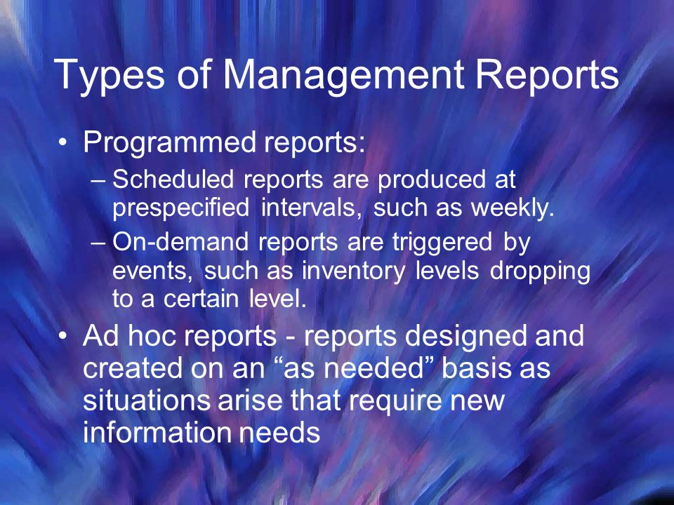Types of Management Reports