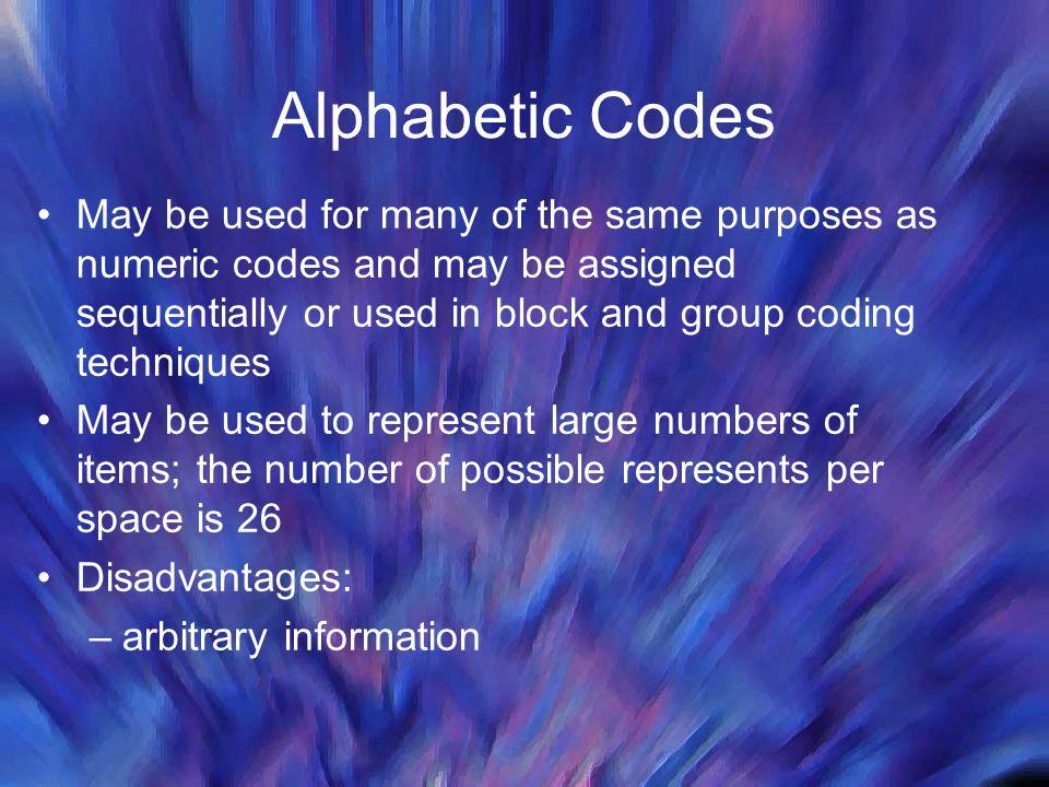 Alphabetic Codes