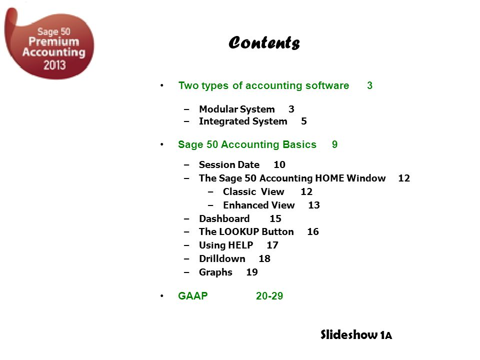 Contents Slideshow 1A Two types of accounting software 3