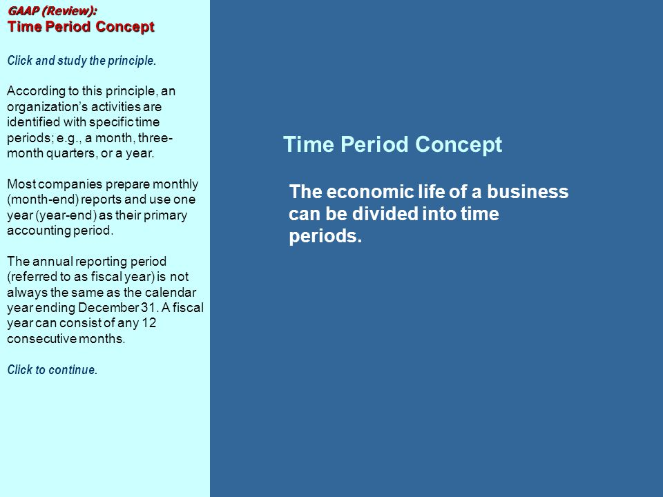 Time Period Concept The economic life of a business