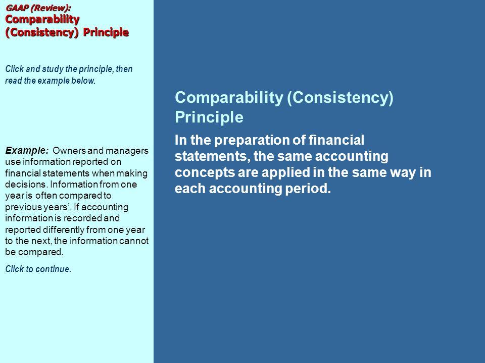 Comparability (Consistency) Principle