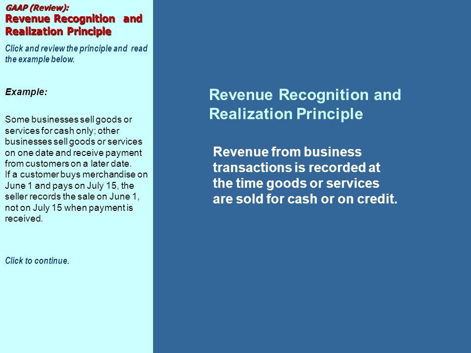 Revenue Recognition and Realization Principle