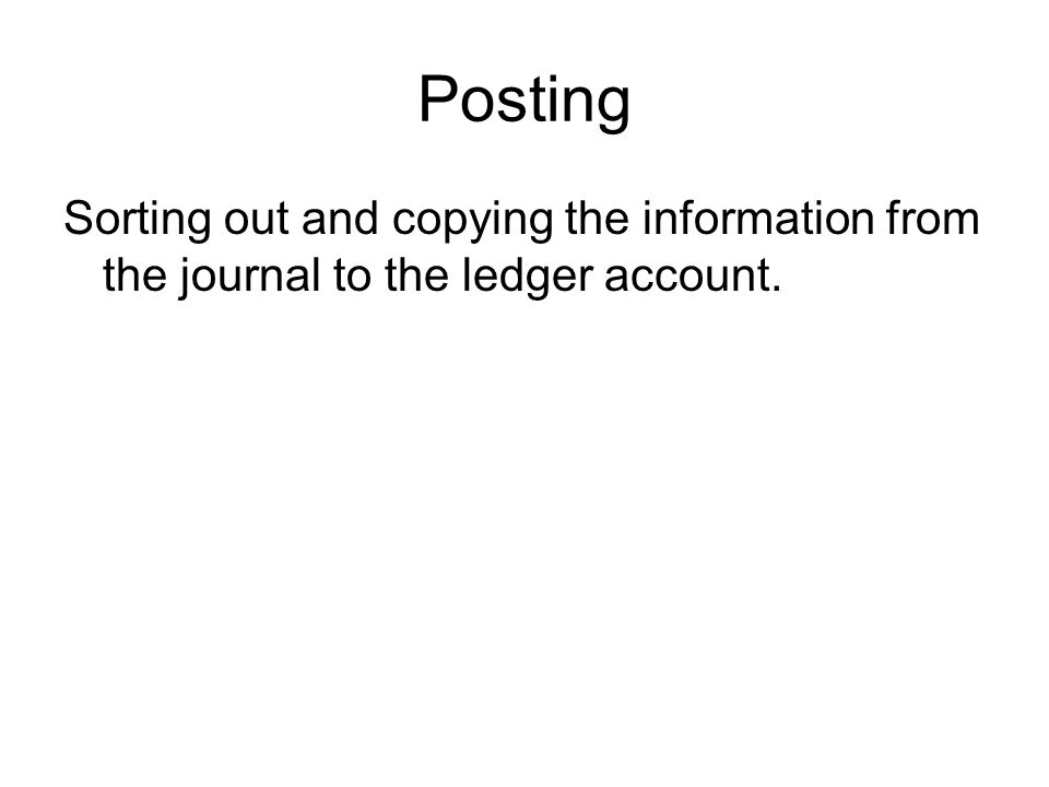 Posting Sorting out and copying the information from the journal to the ledger account.