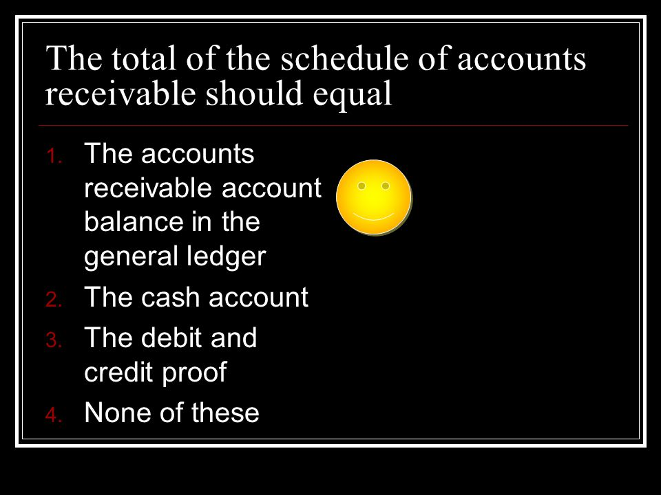 The total of the schedule of accounts receivable should equal