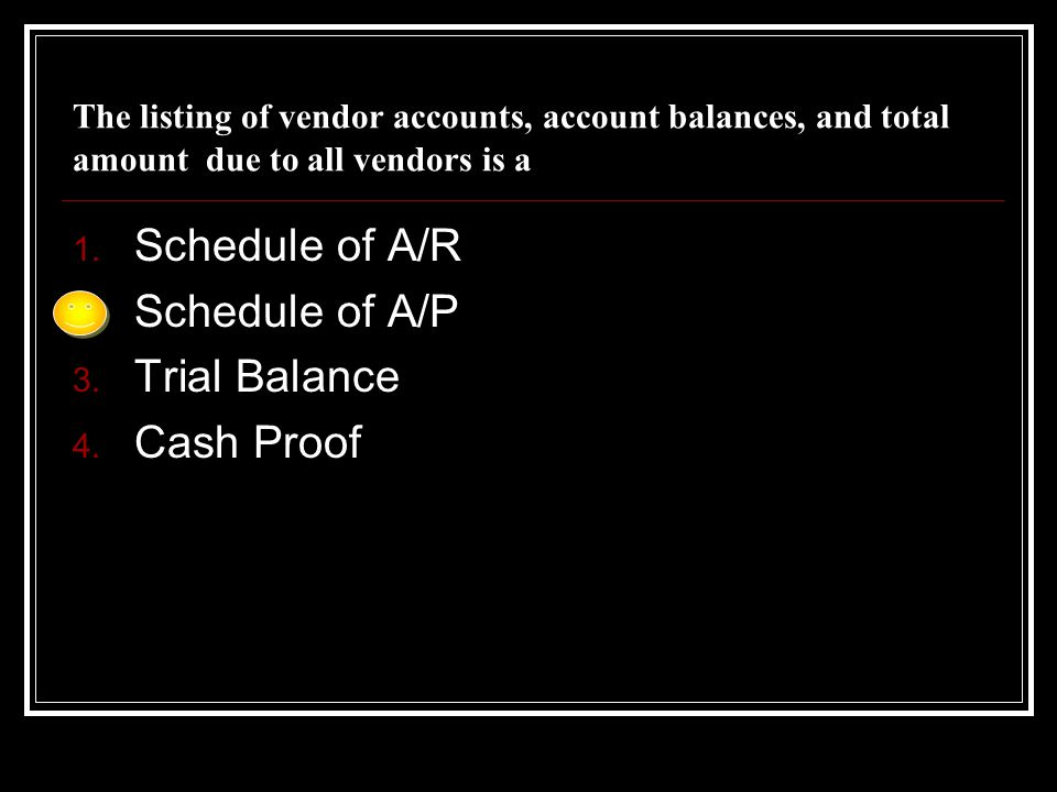 Schedule of A/R Schedule of A/P Trial Balance Cash Proof
