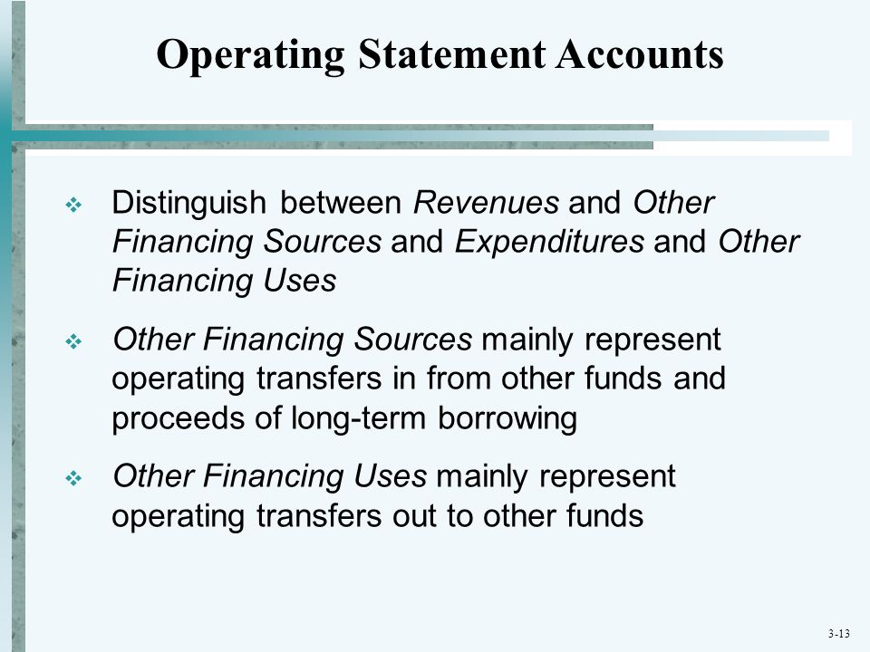 Operating Statement Accounts