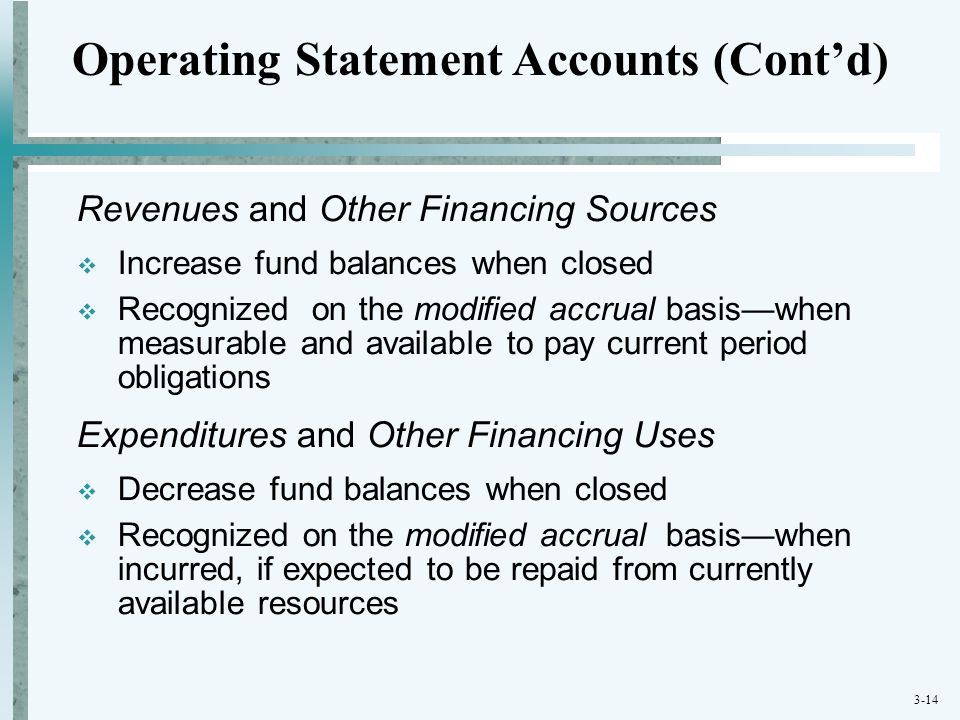 Operating Statement Accounts (Cont'd)