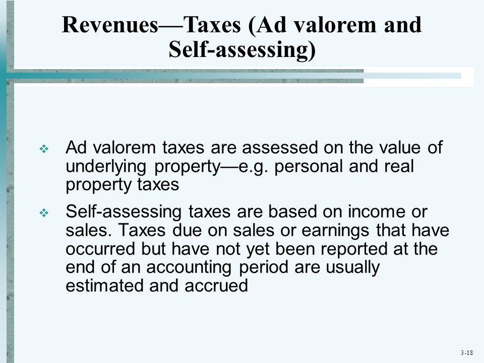 Revenues—Taxes (Ad valorem and