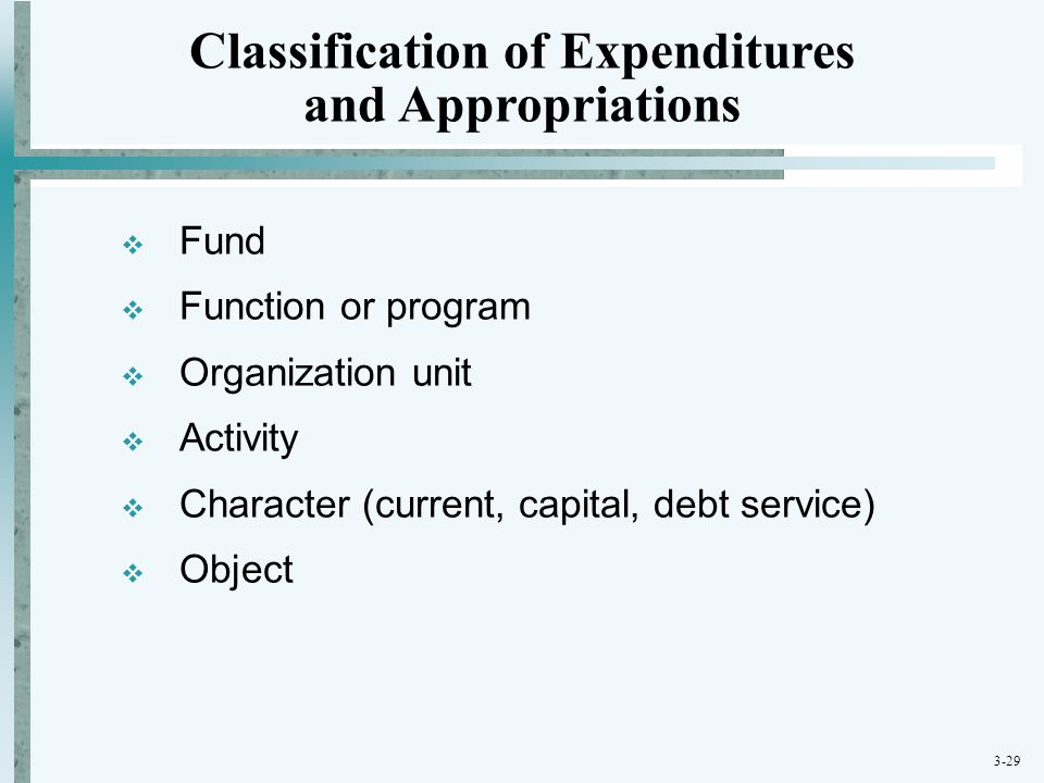 Classification of Expenditures and Appropriations