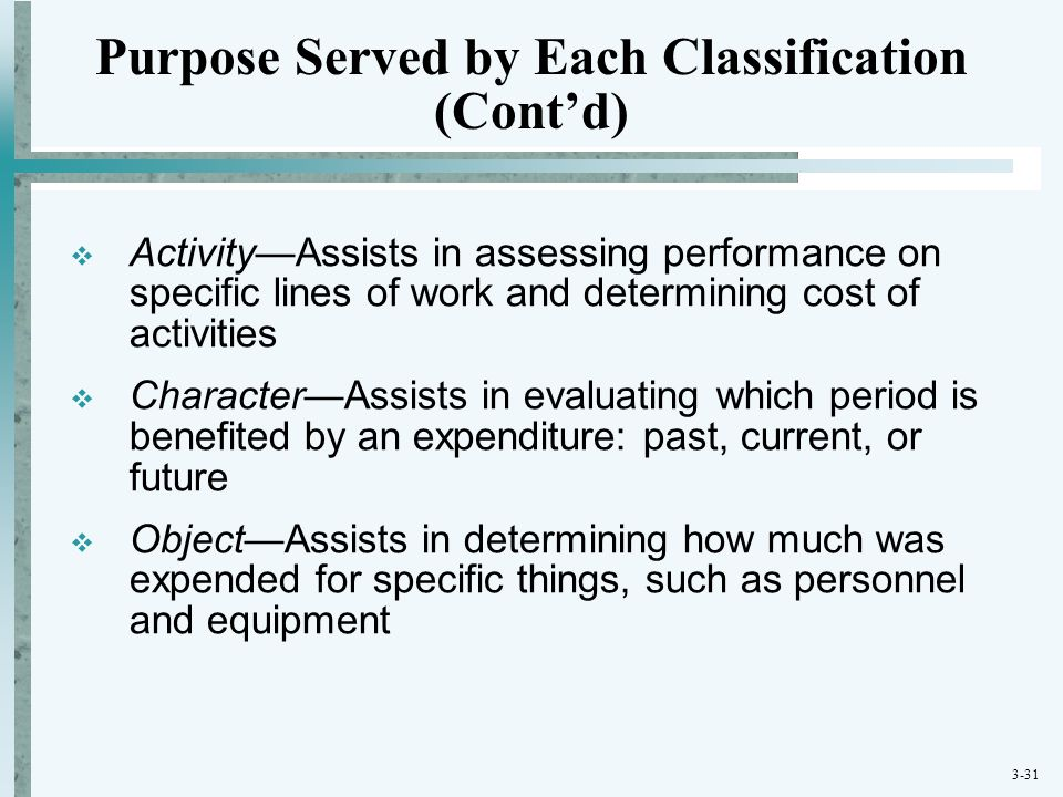Purpose Served by Each Classification (Cont'd)