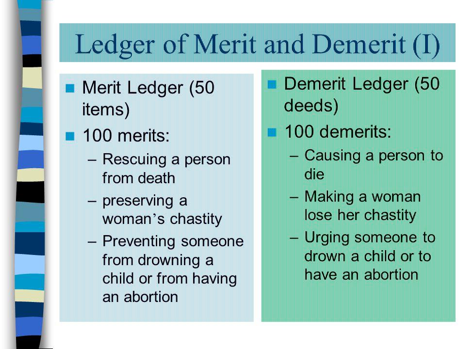 Ledger of Merit and Demerit (I)