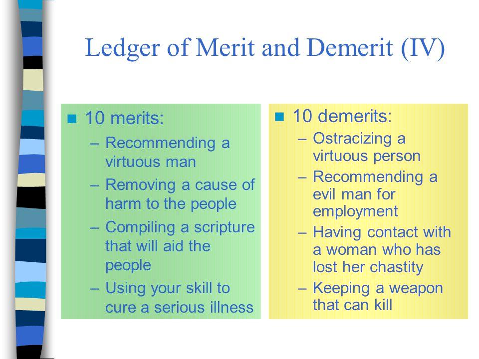 Ledger of Merit and Demerit (IV)