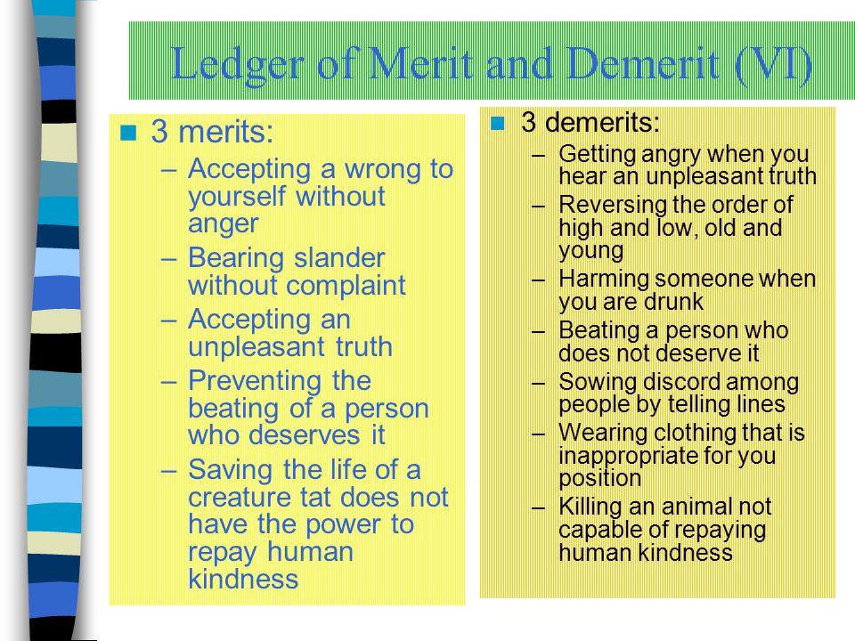 Ledger of Merit and Demerit (VI)