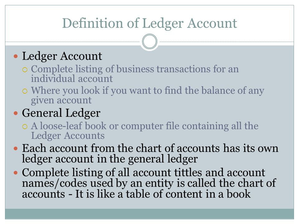Definition of Ledger Account