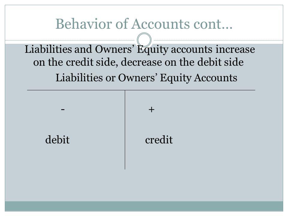 Behavior of Accounts cont…