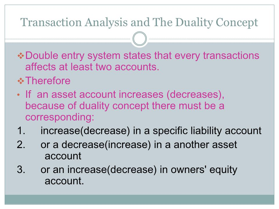 Transaction Analysis and The Duality Concept