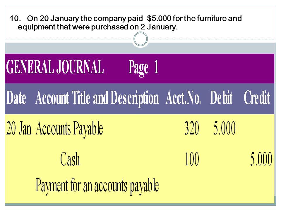 10. On 20 January the company paid $5